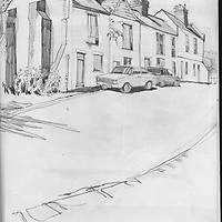Sketchbook drawing of streets in Exeter, Devon, England.