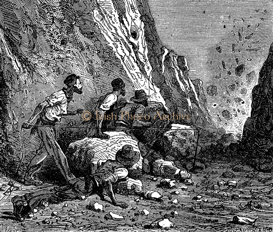 Miners using dynamite for blasting. Wood engraving, Paris, 1879.