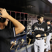 Christian Yelich, MIami Marlins, in the dugout preparing to bat during the New York Mets Vs Miami Marlins MLB regular season baseball game at Citi Field, Queens, New York. USA. 16th September 2015. Photo Tim Clayton