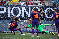 July 22, 2018 - Charlotte, North Carolina, USA - Borussia Dortmund Jacob Bruun Larson (34) scores during an International Champions Cup match at Bank of America Stadium in Charlotte, NC.  Borussia Dortmund of the German Bundesliga beat Liverpool of the English Premier League 3 to 1. (Credit Image: © Jason Walle via ZUMA Wire)
