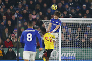 Caglar Soyuncu (4) of Leicester City heads the ball during the Premier League match between Leicester City and Watford at the King Power Stadium, Leicester, England on 4 December 2019.