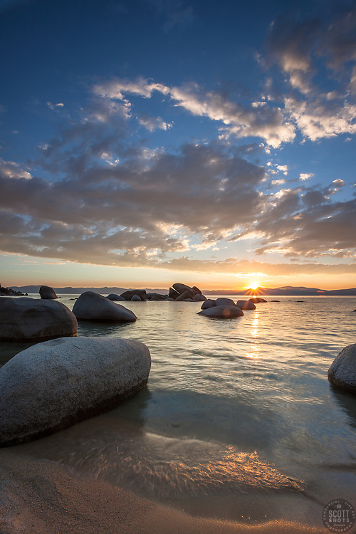 """Sunset at Whale Beach, Tahoe 3"" - Photograph of a sunset at Whale Beach on the East Shore of Lake Tahoe.  Whale Rock can be seen in the distance."