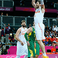 06 August 2012: Spain Pau Gasol dunks the ball during 88-82 Team Brazil victory over Team Spain, during the men's basketball preliminary, at the Basketball Arena, in London, Great Britain.