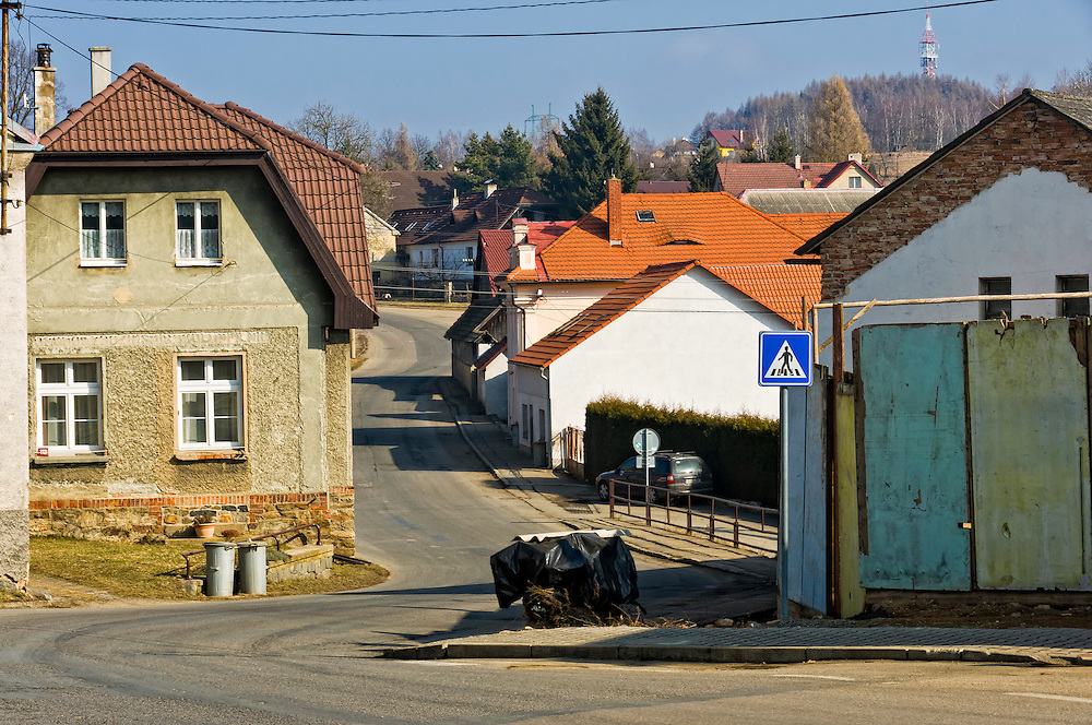 DIVISOV, CZECH REPUBLIC - MARCH 4th 2010: Photo of a typical street in the town of Divisov in the Czech Republic, this is a very small town in the Moravia Region.