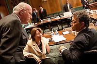 06 Oct 2011, Washington, DC, USA --- Senators Leahy, Klobuchar, Franken after a Judiciary meeting --- Image by © Owen Franken/Corbis