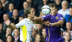 LONDON, ENGLAND - Tuesday, October 27, 2009: Everton's Lucas Neill and Tottenham Hotspur's David Bentley during the League Cup 4th Round match at White Hart Lane. (Photo by David Rawcliffe/Propaganda)