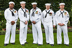 Ascot, UK. 20 June, 2019. American sailors attend Ladies Day at Royal Ascot.