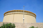 diesel fuel storage silo photographed at the Orot Rabin coal operated power plant Israel, Hadera, Liqued fuel is stored on site as a backup energy source for the plant
