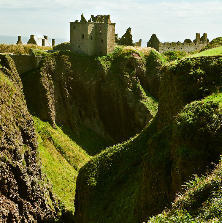 View of Dunnottar Castle from across the ravine