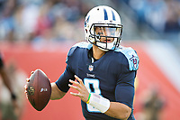 NASHVILLE, TN - DECEMBER 3:  Marcus Mariota #8 of the Tennessee Titans rolls out to pass during a game against the Houston Texans at Nissan Stadium on December 3, 2017 in Nashville, Tennessee.  The Titans defeated the Texans 23-14.  (Photo by Wesley Hitt/Getty Images) *** Local Caption *** Marcus Mariota