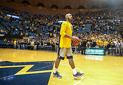 Dec 5, 2017; Morgantown, WV, USA; West Virginia Mountaineers guard Jevon Carter (2) is honored before their game against the Virginia Cavaliers for breaking the program's all-time steals record at WVU Coliseum. Mandatory Credit: Ben Queen-USA TODAY Sports