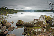 Shore of Loch Garten looking towards the Cairngorm Mountains, Scottish Highlands, Uk