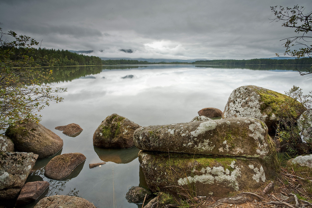 Shore of Loch Garten looking towards the Cairngorm Mountains, Scottish Highlands, Uk