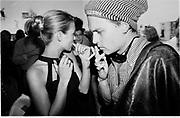 Kate Moss & Johnny Depp. Kate Moss book party. James Danziger Gallery. Prince St. New York. 11 September 1995. Film 95378f2<br /> © Copyright Photograph by Dafydd Jones<br /> 66 Stockwell Park Rd. London SW9 0DA<br /> Tel 0171 733 0108