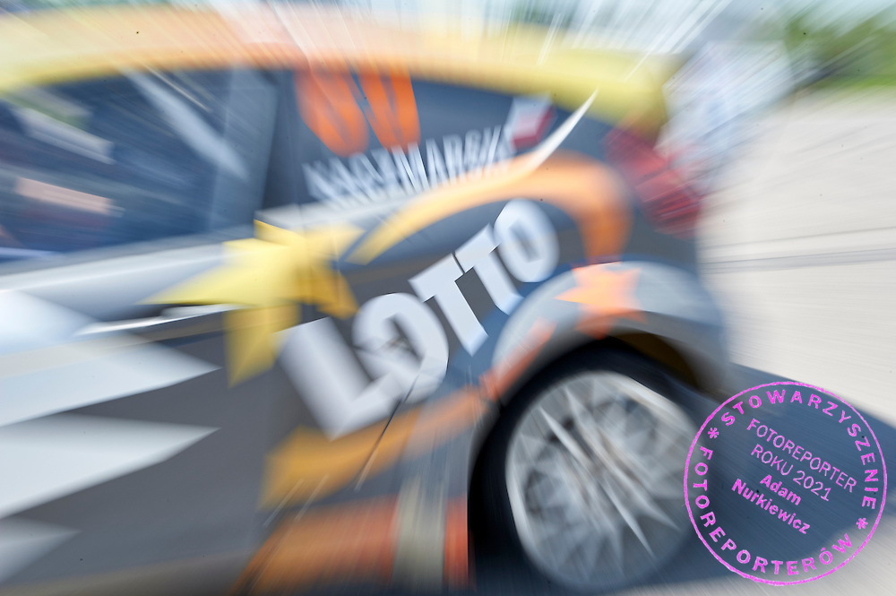 Lotto advertise on car rally cross RX Lites during training session on rally cross track on May 19, 2015 in Slomczyn, Poland<br /> <br /> Poland, Slomczyn, May 19, 2015<br /> <br /> Picture also available in RAW (NEF) or TIFF format on special request.<br /> <br /> For editorial use only. Any commercial or promotional use requires permission.<br /> <br /> Adam Nurkiewicz declares that he has no rights to the image of people at the photographs of his authorship.<br /> <br /> Mandatory credit:<br /> Photo by &copy; Adam Nurkiewicz / Mediasport