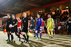 Rochdale & Crewe Alexandra players walk out on to the pitch at Spotland Stadium - Photo mandatory by-line: Matt McNulty/JMP - Mobile: 07966 386802 - 03/03/2015 - SPORT - football - Rochdale - Spotland Stadium - Rochdale v Crewe Alexandra - Sky Bet League One