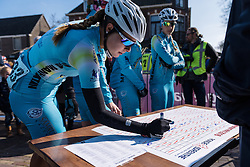Ingrid Drexel signs in with her Astana teammates  - Drentse 8, a 140km road race starting and finishing in Dwingeloo, on March 13, 2016 in Drenthe, Netherlands.
