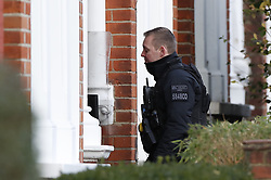 © Licensed to London News Pictures. 18/01/2019. London, UK. Police officers enter the property in Balham, south London where police are negotiating with a man who is inside the house with a knife. Photo credit: Peter Macdiarmid/LNP