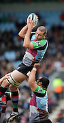 Twickenham, GREAT BRITAIN, Lewis STEVENSON, of Harlequins, collects the line out ball, during the Guinness Premiership match, Harlequins vs Sale Sharks, played at Twickenham Stoop, Twickenham, Surrey, on Saturday  08/05/2010  [Photo Peter Spurrier/Intersport-images]