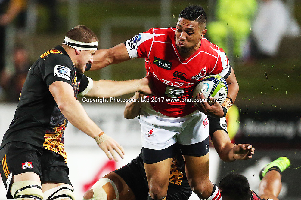 Sunwolves centre William Tupou in action during the Super Rugby rugby match - Chiefs v Sunwolves played at FMG Stadium Waikato, Hamilton, New Zealand on Saturday 29 April 2017.  Copyright photo: Bruce Lim / www.photosport.nz