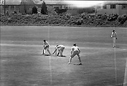 26/05/1962<br /> 05/26/1962<br /> 26 May 1962<br /> Senior Interprovincial Cricket, Leinster v Munster at Sydney Parade, Dublin. S.F. Berlin (Pembroke) captain of the Leinster team nearly caught out by the Munster wicket-keeper  on the second day of the two day test match.