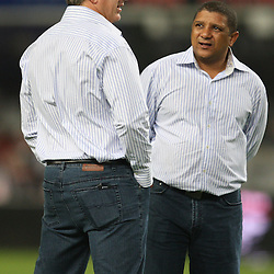 DURBAN, SOUTH AFRICA - MAY 08:Backline Coach: Robbie Fleck  with coach Allister Coetzee  <br /> during the Super 14 match between Sharks and Vodacom Stormers from Absa Stadium on May 08, 2010 in Durban, South Africa.<br /> Photo by Steve Haag / Gallo Images