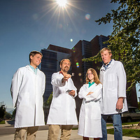Rick Ubic and students in materials science lab working on photovoltaic materials, for Focus Magazine. John Kelly photo