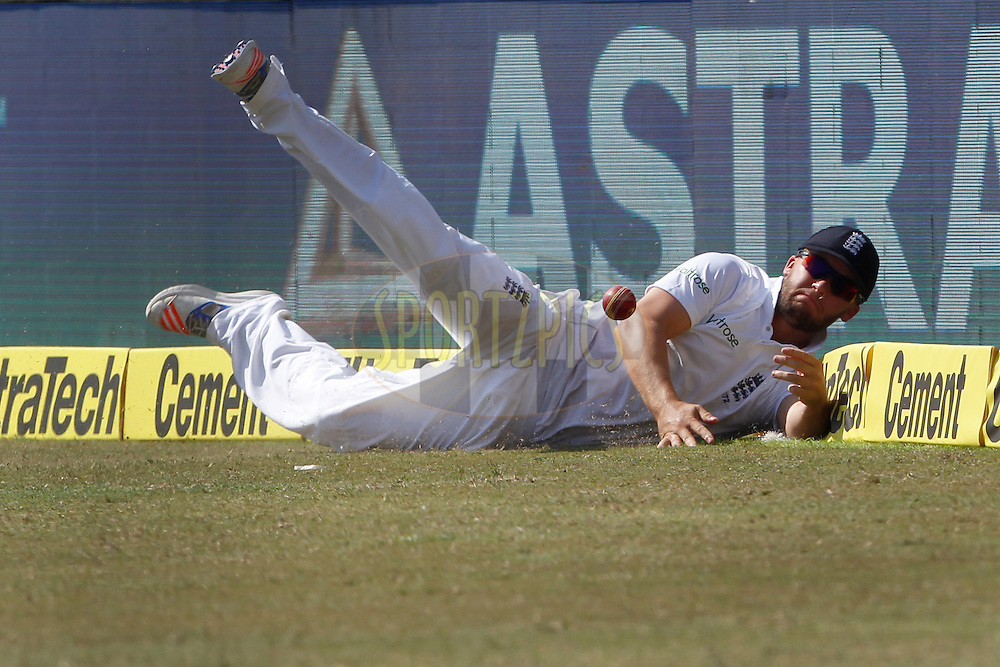 Ben Duckett of England tries to save boundary during day 5 of the first test match between India and England held at the Saurashtra Cricket Association Stadium , Rajkot on the 13th November 2016.<br /> <br /> Photo by: Deepak Malik/ BCCI/ SPORTZPICS