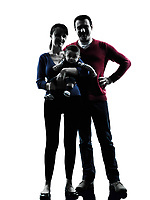 parents with baby standing in silhouettes on white background