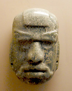 Jade mask of an anthropomorphic god, Mayan AD 50-300. Pre-Columbian Mesoamerican