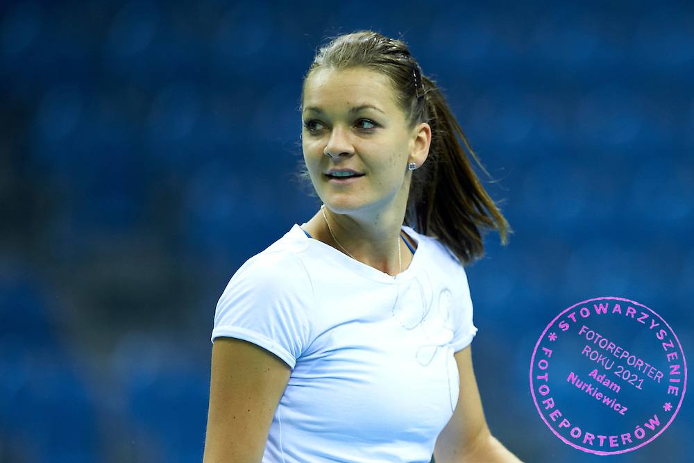 Agnieszka Radwanska from Poland during official training session two days before the Fed Cup / World Group 1st round tennis match between Poland and Russia at Krakow Arena on February 5, 2015 in Cracow, Poland<br /> Poland, Cracow, February 5, 2015<br /> <br /> Picture also available in RAW (NEF) or TIFF format on special request.<br /> <br /> For editorial use only. Any commercial or promotional use requires permission.<br /> Adam Nurkiewicz declares that he has no rights to the image of people at the photographs of his authorship.<br /> Mandatory credit:<br /> Photo by &copy; Adam Nurkiewicz / Mediasport