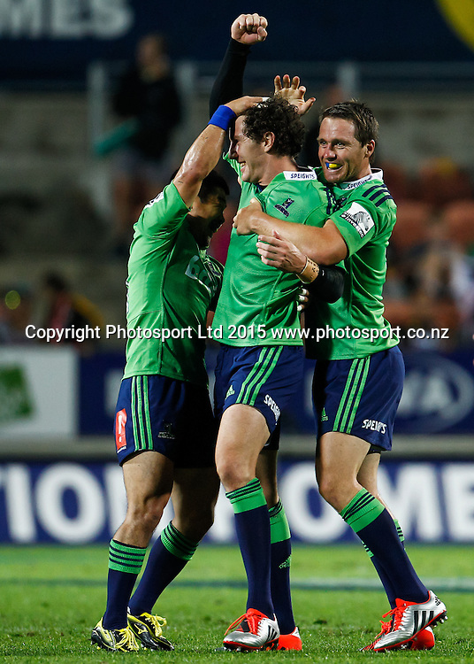 Highlander's Fumiaki Tanaka (L) and Highlander's Ben Smith (R) celebrate Highlander's Marty Banks match winning penalty kick in the Super 15 Rugby Match - Chiefs v Highlanders, 6 March 2015 at Waikato Stadium, Hamilton, New Zealand on Friday 6 March 2015.  Photo:  Bruce Lim / www.photosport.co.nz