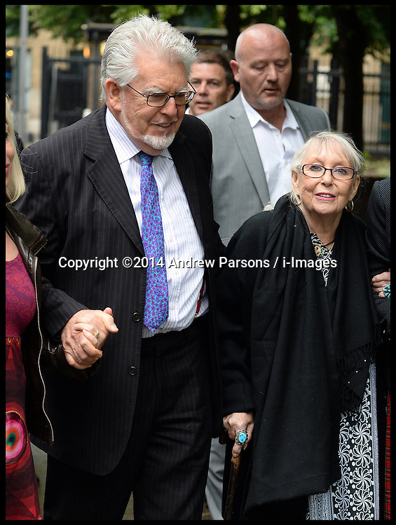 Rolf Harris arrives at Southwark Crown Court, London, United Kingdom, with his wife Alwen Hughes  (right) he is expected to give evidence in his trial today. Tuesday, 27th May 2014. Picture by Andrew Parsons / i-Images