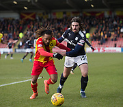 17th February 2018, Firhill Stadium, Glasgow, Scotland; Scottish Premier League Football, Partick Thistle versus Dundee; Mustapha Dumbuya of Partick Thistle battles for the ball with Jon Aurtenetxe of Dundee