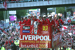 LIVERPOOL, ENGLAND - THURSDAY, MAY 26th, 2005: Liverpool players parade the European Champions Cup on on open-top bus tour of Liverpool in front of 500,000 fans after beating AC Milan in the UEFA Champions League Final at the Ataturk Olympic Stadium, Istanbul. (Pic by David Rawcliffe/Propaganda)