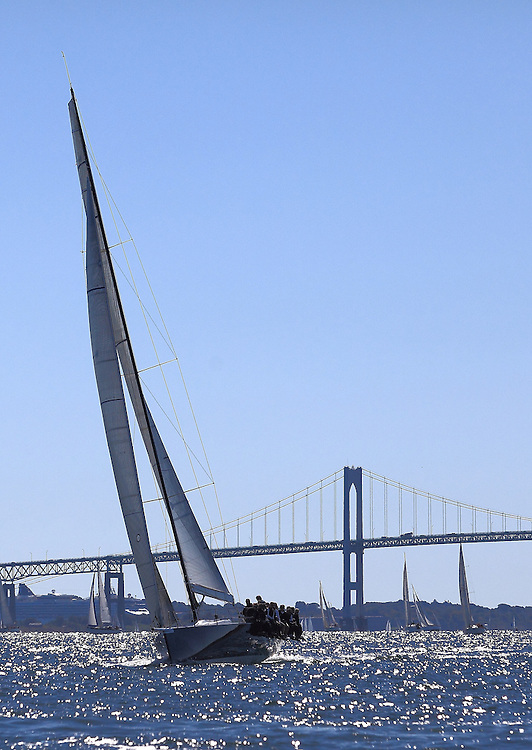 Interlodge with the Newport Bridge in the distance at the 9th Annual Sail for Hope event in Newport, RI.