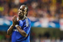 LONDON, ENGLAND - Wednesday, May 6, 2009: Chelsea's Didier Drogba prays for a miracle as Barcelona crash out of the European Cup drawing 1-1 with Barcelona during the UEFA Champions League Semi-Final 2nd Leg match at Stamford Bridge. (Photo by Carlo Baroncini/Propaganda)