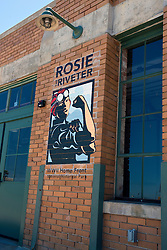 Exterior of the Visitor Center for Rosie the Riveter WWII Home Front National Historic Park, with logo, Richmond, California, United States of America
