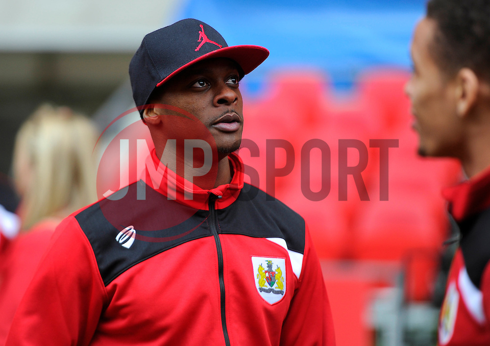 Bristol City's Kieran Agard pitch side at Wembley Stadium - Photo mandatory by-line: Joe Meredith/JMP - Mobile: 07966 386802 - 19/03/2015 - SPORT - Football - London - Wembley - Johnstone Paint Trophy