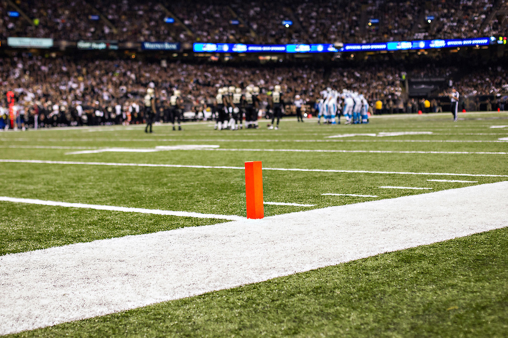NEW ORLEANS, LA - DECEMBER 8:  End Zone marker during a game between the New Orleans Saints and the Carolina Panthers at Mercedes-Benz Superdome on December 8, 2013 in New Orleans, Louisiana.  The Saints defeated the Panthers 31-13.  (Photo by Wesley Hitt/Getty Images) *** Local Caption ***