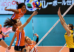 14-05-2016 JAP: OKT Kazachstan - Nederland, Tokio<br /> De Nederlandse volleybalsters hebben op het OKT in Tokio met een 3-1 (25-12, 21-25, 25-14, 25-8) zege op Kazachstan een eerste stap richting een olympisch ticket gezet. / Robin de Kruijf #5