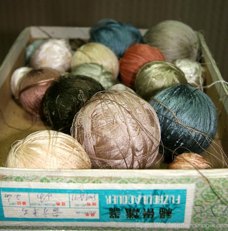 Asia, China, Beijing. Balls of silk threads for carpet weaving.
