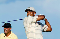 Tiger Woods tees off of hole nine of day one of practices at the PGA championship at Whistling Straits Monday Aug. 9, 2004 Sheboygan Wi.     Photo Darren Hauck......................