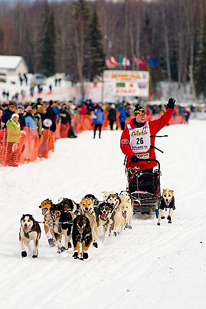 05 March 2006: Willow, Alaska - Aliy Zirkle (26) of Two Rivers, AK waves to the fans as she heads out to Nome during the restart of the 2006 Iditarod on Willow Lake in Willow, Alaska