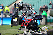 6 Feb 2010 Twickenham, England: A 3D television camera at the side of te pitch before the start of the Six Nations match between England and Wales. Photo © Andrew Tobin www.slikimages.com