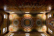 The fine and detailed painted timber ceiling in the shrine room.  Isipathanaramaya Buddhist Temple in Havelock Town, Colombo 5. The temple was built in the 1920's.