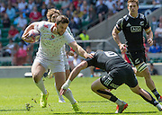 Twickenham, Great Britain, Charlie HAYTER, handing off, Gilles KAKA and running in to touch  down during the Cup Quarter final  England vs New Zealand, Marriott London Sevens played at the  RFU Stadium, Twickenham, ENGLAND. Sunday 17.05.2015<br /> [Mandatory Credit; Peter Spurrier/Intersport-images]