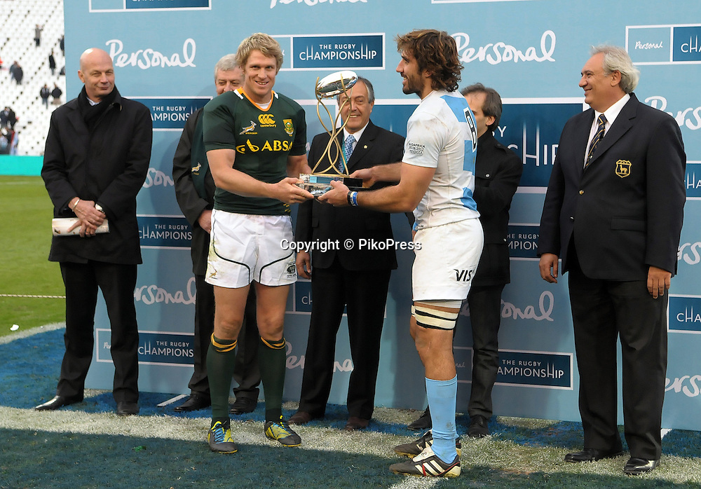 RUGBY CHAMPIONSHIP 2012 - <br /> LOS PUMAS (Argentina) 16 Vs. South Africa (16)<br /> Estadio Ciudad de Mendoza / Mendoza - Argentina - August 25, 2012<br /> Here both captains Juan Fernandez Lobbe (R) and Jean De Villiers. (L) <br /> &copy; PikoPress