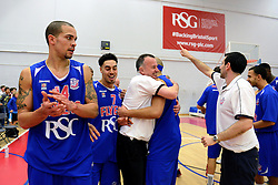 Bristol Flyers celebrate their win after the full time whistle after beating Plymouth Raiders - Mandatory byline: Dougie Allward/JMP - 11/12/2015 - Basketball - SGS Wise Campus - Bristol, England - Bristol Flyers v Plymouth Raiders - British Basketball League