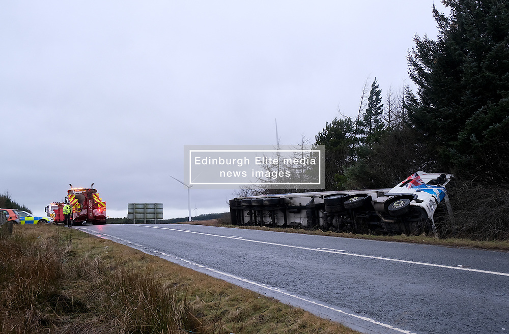 Storm Brendan, Monday 13th January 2020<br /> <br /> Strong winds from Storm Brendan hit Scotland this morning and blew over a lorry on the A704 near Breich Crossroads<br /> <br /> Pictured: The lorry on its side<br /> <br /> Alex Todd | Edinburgh Elite media